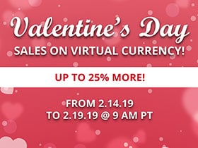 Valentine's Day Sales on Virtual Currency!