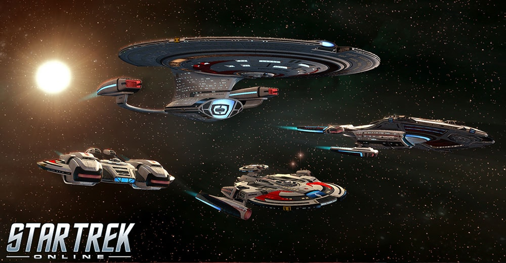 Shran, Andromeda, Reliant, and Pathfinder-class ships from the Terran Imperial Fleet in Star Trek Online