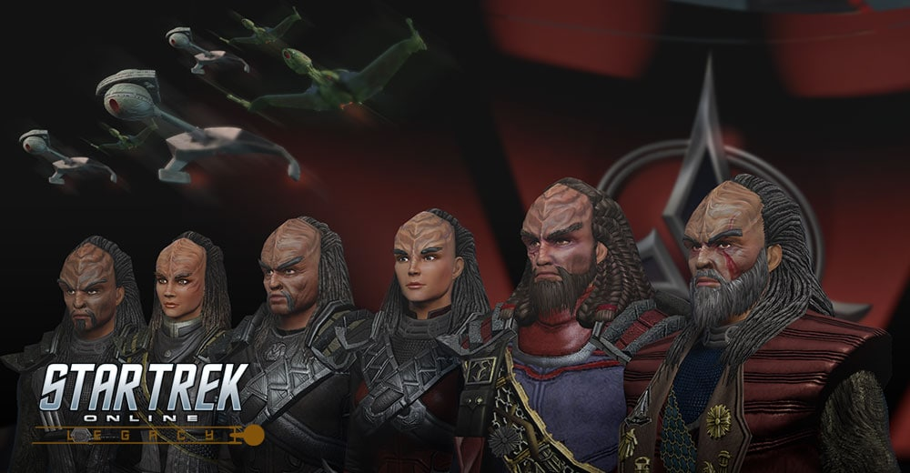 An image of the Year of Klingon. A red background, Klingon ships, and a variety of Klingon faces and uniforms are representative of Star Trek Online's newest offering