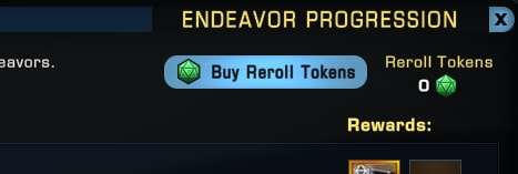 The Buy Reroll Tokens button added to Star Trek Online