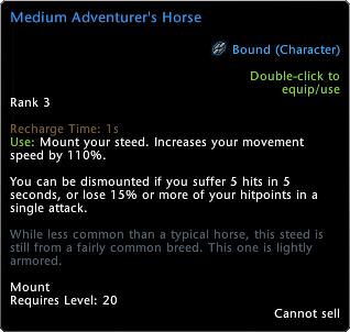 Adventurer's Horse Tooltip