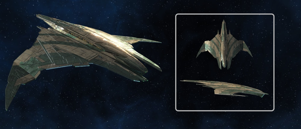 Several views of the Dhailkhina Warbird from Star Trek Online