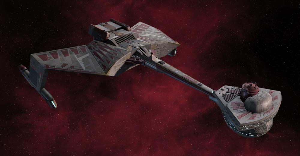 Star Trek Online's Legendary D7 Battlecruiser in the Gorkon's Qo'noS One livery