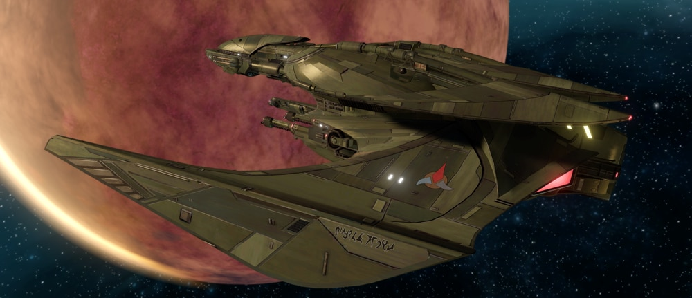 The refit M'Chla Bird of Prey, available to players in Star Trek Online