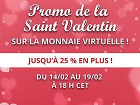 Promo de la Saint Valentin sur la monnaie virtuelle !