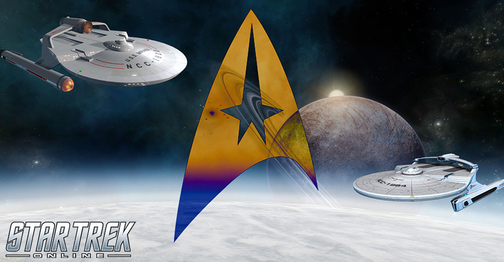 Promotional image for Star Trek Online's Temporal Recruitment Event, featuring two versions of the Miranda Cruiser