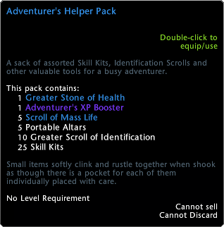 Adventurer's Helper Pack Tooltip