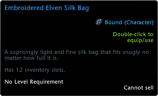Elven Silk Bag Tooltip