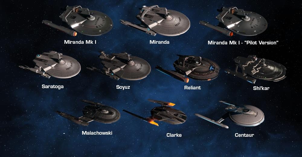 The ten different Federation Light Cruiser ships available in Star Trek Online