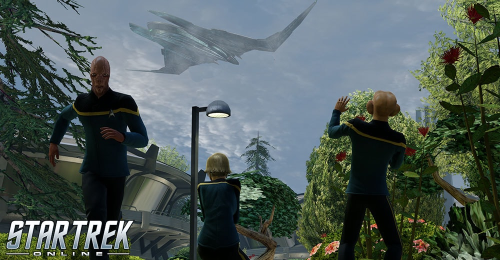 A Zhat Vash warbird appears over Starfleet Academy