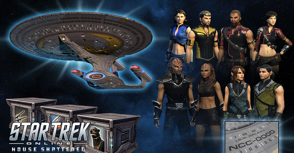 The Star Trek Online Legendary Mirror Bundle, featuring the T6 Mirror Dreadnought, Agony space and ground weapons, and Mirror Uniforms