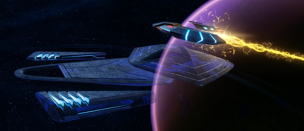 The Janeway-class Science Vessel from Star Trek Online fires its Photonic Cannon