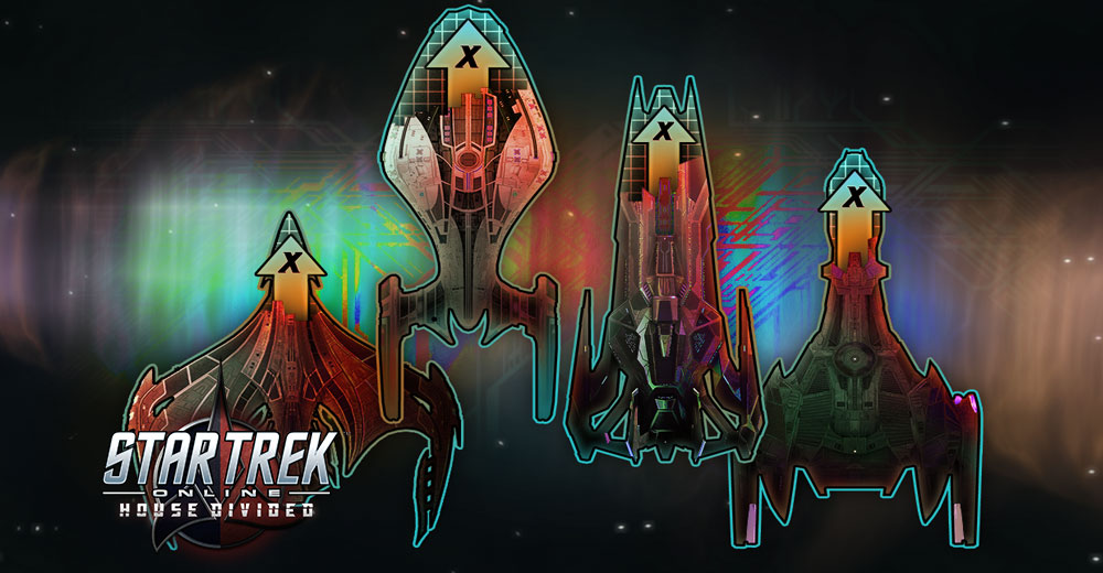 Upgrade tokens for Romulan, Federation, Klingon, and Dominion ships