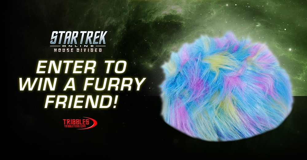 Promo art for the rainbow tribble, a giveaway team-up with Star Trek Online