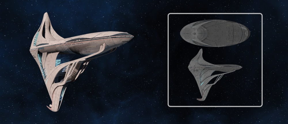 The Courage-class Command Science Destroyer starship from Star Trek Online