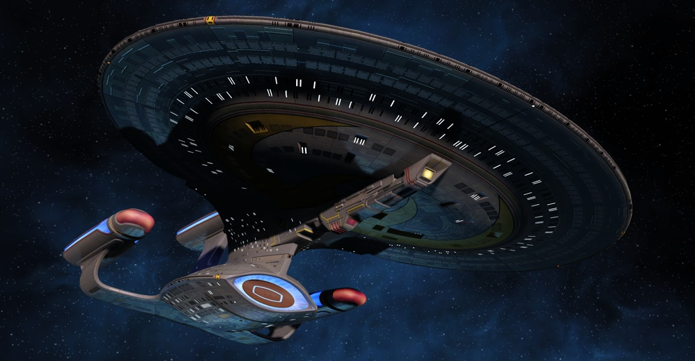 Star Trek Online's T6 Legendary Dreadnought Cruiser. Features a third nacelle and phaser lance