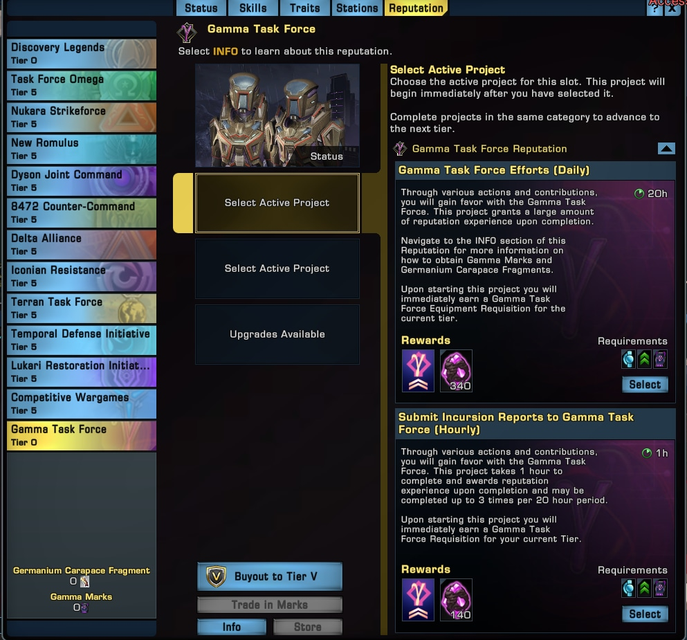 The reputation tab, illustrating the buyout option for Star Trek Online